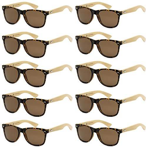 Shade Bamboo Tortoise - WHOLESALE BAMBOO ECO FRIENDLY MODERN RETRO 80'S CLASSIC SUNGLASSES - 10 PACK (Classic Tortoise | Brown Lens, 52)