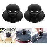 2Pcs Saucepan Lid Knobs Cooker Pan Pot Kettle Cover Handle Knob Kitchen Universal Casserole Glass Lid Pot Knob Cookwares Replacement (Black)