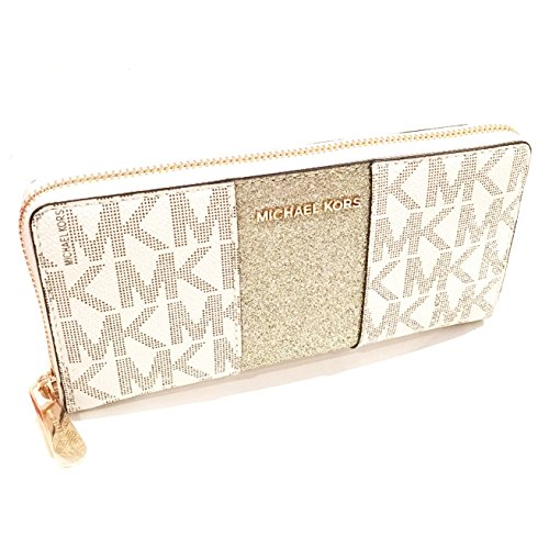 Michael Kors Vanilla Monogram Gold Glitter Center Stripe Large Travel - Kors Glitter Michael