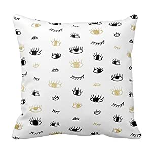 Funny Fashion Gold And Black Cute Eyes Pattern Home Throw Pillow Case Pillow Case Covers ...