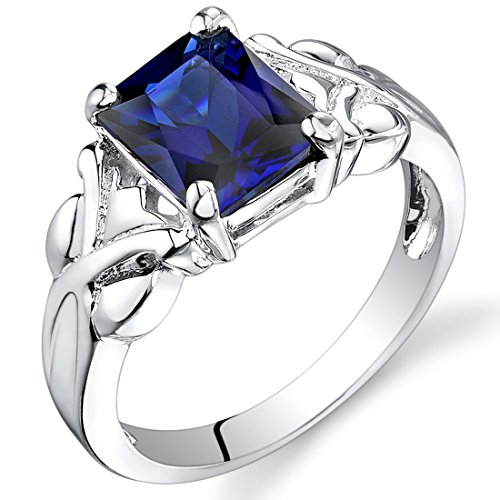 Created Sapphire Ring Radiant Cut Sterling Silver 3.00 Carats Size 7 ()