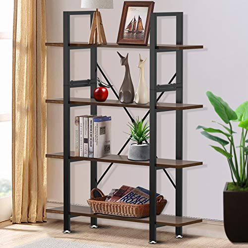 Yesker 4 Tier Bookshelf, Industrial Style Bookcase with Wood and Metal Frame, Open Storage Bookshelf for Home Office, Vintage Brown (Bookshelf Metal Wood)