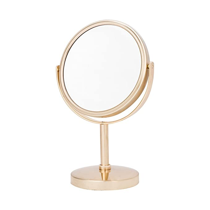 Danielle Two-Sided 5X Magnification Round Vanity Mirror, Brushed Gold
