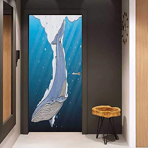 Sticker for Door Decoration Whale Cartoon Whale Swimming Under Ocean with Fish Shells Near Palm Island Environment Door Mural Free Sticker W38.5 x H77 Multi Colored