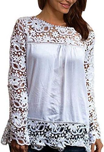 Qiao Nai Blusa para Mujer, Camisa de Manga Larga Camisetas de Encaje Informal Tops Sueltos de Camiseta Camisa de Gasa Calado Manga Manga Flor Tops de Mujer largas de Verano: Amazon.es: Ropa