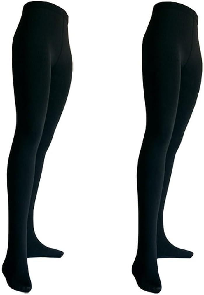 2er Pack Damen Thermo Strumpfhosen mit Innenfleece blickdicht schwarz