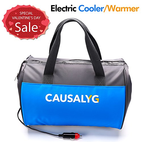 Portable Seat Cooler (Causalyg 12 Volt DC Soft Electric Car Cooler/Warmer Bag, Portable Car Refrigerator/Fridge with Thermoelectric System for Camping, Road Trip, Picnic - 18L Capacity)