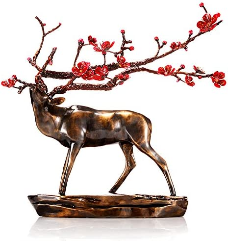 sankontran Handmade Creative Abstract Metal Cast Brass Animal Sika Buck Deer Statue Collectable Table Decor Sculpture for Living Room Home Decorations and Office Business Gift Elk Figurine