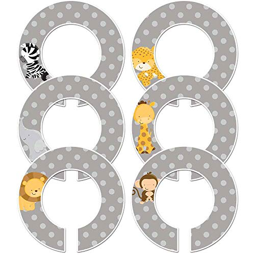 "6 Baby Boy Nursery Clothing Size Closet Dividers Boy Safari Animals (Gray, 1.5"" Rod)"