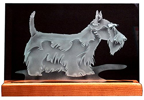 Wooden Mantel Base - Carved Glass Scottish Terrier on 6x9 inch Rectangular Glass in Handcrafted Wooden Base