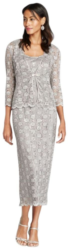 David's Bridal 3/4 Sleeve All Over Lace Jacket Mother Of Bride/Groom Dress Style 7458.