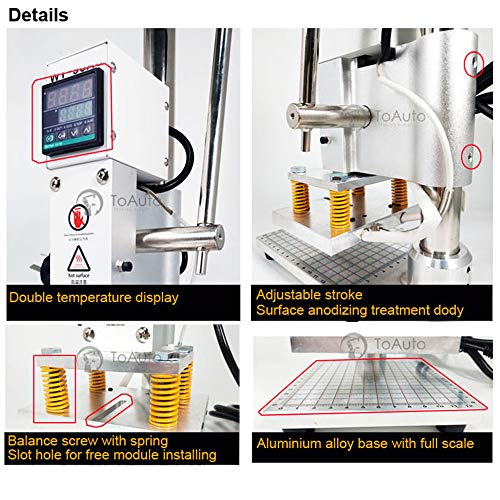 Upgraded Hot Foil Stamping Machine 5x7cm 110V with Full Scale on The Base Plate for PVC Leather PU Paper Logo Embossing 1.97''x2.76'' by FASTTOBUY (Image #5)