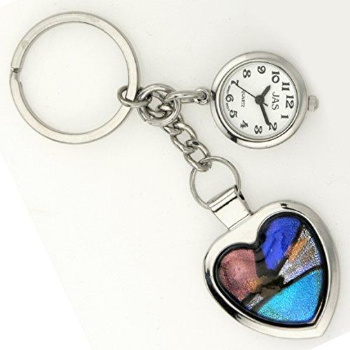 JAS Unisex Novelty Belt Fob/Keychain Watch Mosaic Heart 2 Silver Tone