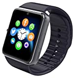 Aosmart [US Warranty All-in-1 Smartwatch with Camera and sim Card Slot, Bluetooth Fitness Smart Watch for iPhone, Android, Samsung, Galaxy Note, Nexus, HTC, Sony - Black