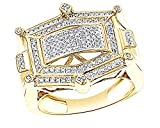 Wishrocks Round Cut Cubic Zirconia Hip Hop Men's Engagement Ring In 14K Gold Over Sterling Silver