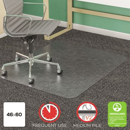 deflecto CM14443F SuperMat Frequent Use Chair Mat Medium Pile Carpet Beveled 46 x 60 Clear by Deflect-O