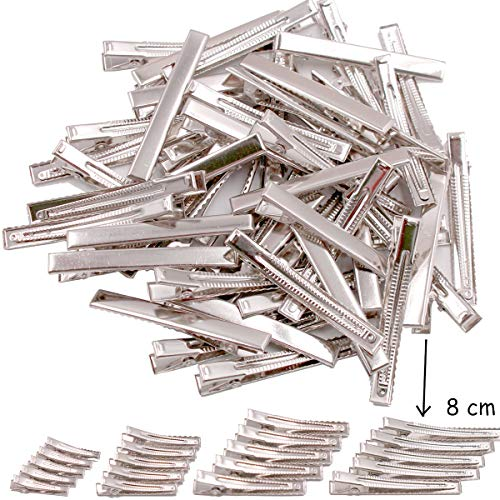 50 pcs Lot Alligator Hair Clip Single Prong Pinch Clips Metal Alligator Clips Hair Pin Hairbow Accessory (3inches) (Prong Alligator Clips Pinch Single)
