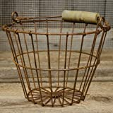 """Wire Egg Basket 6""""H 8""""Dia Rust"""