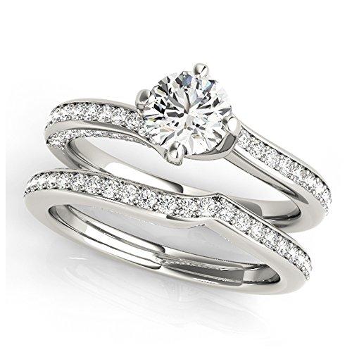 14K White Gold Unique Wedding Diamond Bridal Set Style MT51038