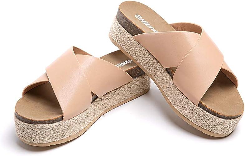 Femme Haut Compensé Talons Hauts Plateforme Sandales Chaussons Chaussures Été Plage Mules SZ B