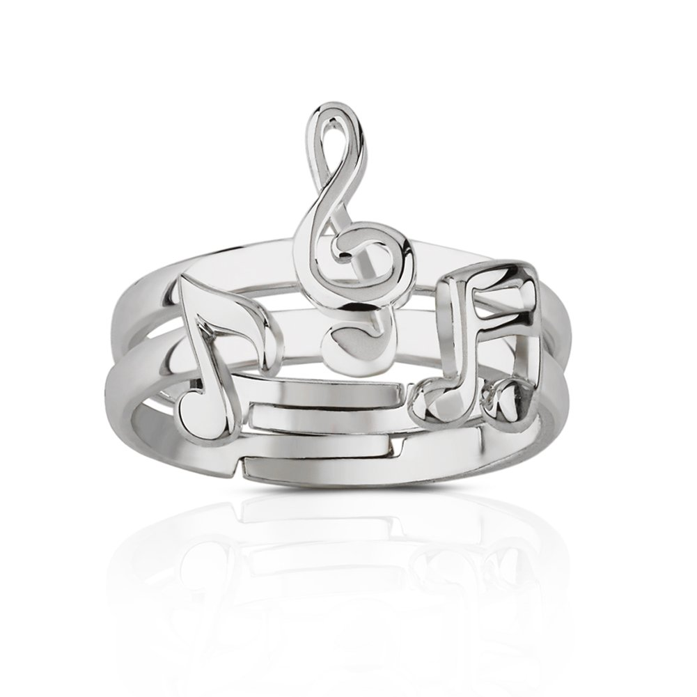 925 Sterling Silver Treble G Clef, Eighth & Sixteenth Music Note Two (2) Ring Stack, Adjustable 7-9