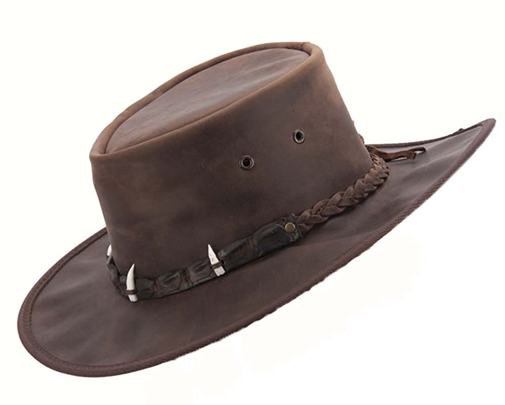 e5a626265c399 Australian Leather Hat with Crocodile Teeth. Made in Australia Crocodile  Dundee Hat at Amazon Men s Clothing store