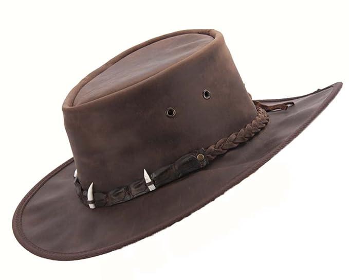Barmah Hats Real Australian Leather Hat with Crocodile Teeth. Original Made  in Australia Crocodile Dundee f08528ec007a