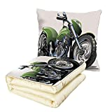 iPrint Quilt Dual-Use Pillow Motorcycle Motorcycle Design with Fancy Supreme Gears and Metal Tires Action Urban Life Multifunctional Air-Conditioning Quilt Green Silver