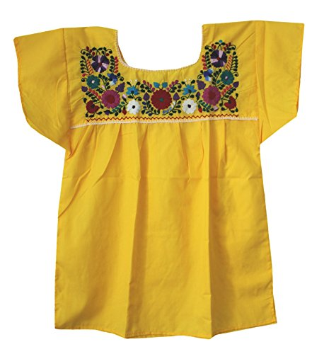 Mexican Peasant Puebla Blouse, Yellow, 2X