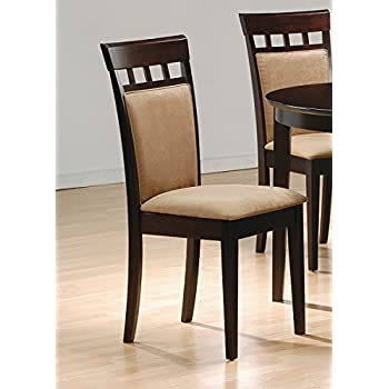 Good Coaster Cushion Back Dining Chairs, Cappuccino, Set Of 2