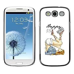LECELL--Funda protectora / Cubierta / Piel For Samsung Galaxy S3 I9300 -- 5'Th Birthday Girl White Fashion --