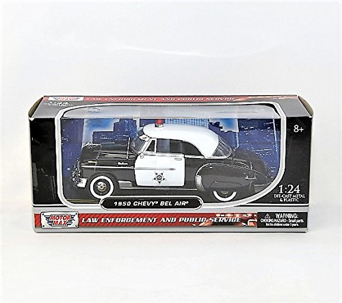 Motormax 76931 1950 Chevrolet Bel Air Police 1-24 Diecast Car (1950 Chevrolet Bel Air Vehicle)