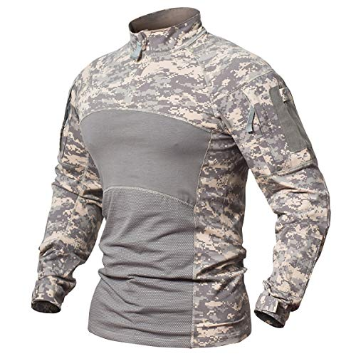 ReFire Gear Men's Army Military Uniform Tactical Shirt Slim Fit Long Sleeve Cotton T-Shirt Multicam Camo Outdoor Sport Hunting Paintball ()