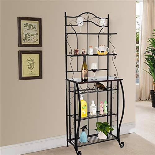 USAStock 5-Tier Black Metal Cappuccino Finish Shelf Kitchen Bakers Rack Scroll Design with 5 Bottles Wine Storage by USAStock