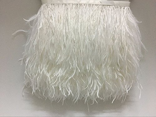 ADAMAI Natural Ostrich Feathers Trims Fringe DIY Dress Sewing Crafts Costumes Decoration Pack of 2 Yards (White)