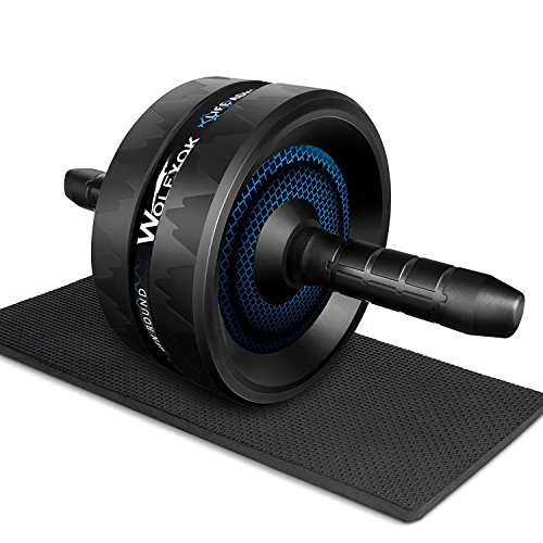 Wolfyok Ab Roller Wheel   Ab Carver Pro Roller Exercise Equipment For Core Workouts And Abs Training With Knee Pad  1 Year Warranty  Black