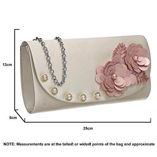 Celebrity Prom Evening Bag Joyce Floral Night SWANKYSWANS Party Out Wedding Clutch Ladies Flapover Ivory wA1wqv8