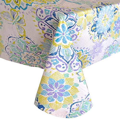 - Newbridge Shabby Chic Midsummer Medallion Print Vinyl Flannel Backed Tablecloth - Blue Butterfly Print Indoor/Outdoor Tablecloth for Patio and Kitchen Dining- 60