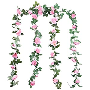 Foraineam 2PCS(16FT) Artificial Rose Vine Garland Silk Hanging Roses Fake Flowers String Artificial Plants Indoor Outdoor Decor (Pink) 115