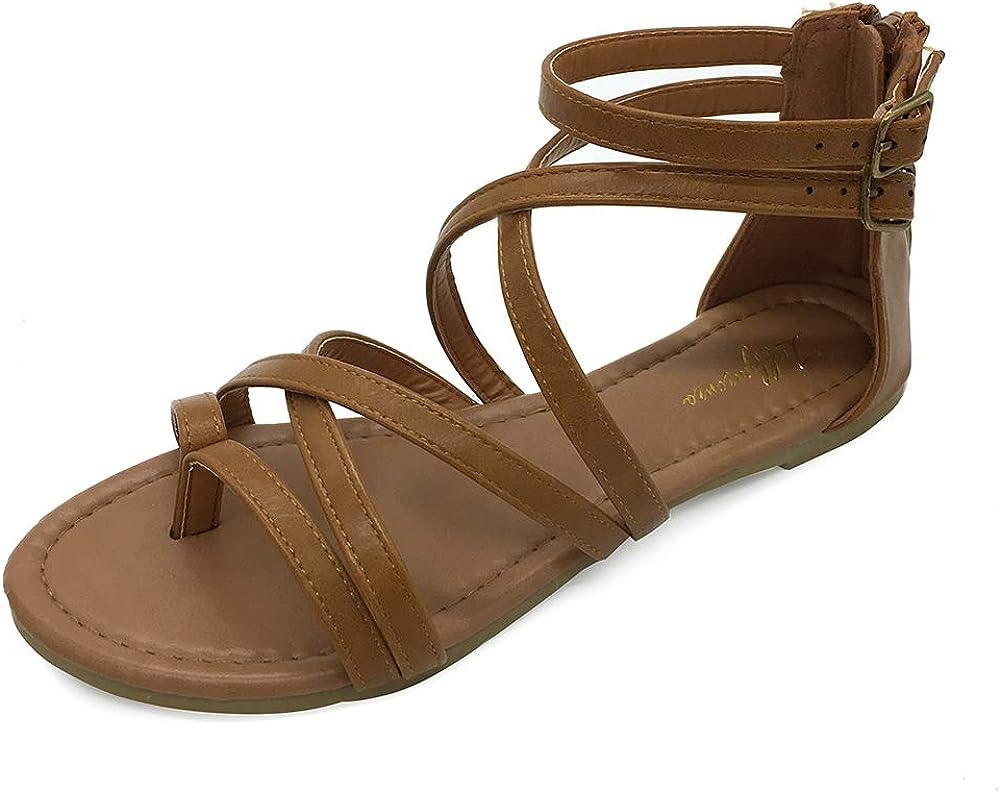 LUFFYMOMO Womens Gladiator Strap Sandals Flat Fisherman Thong Cross Strappy Sandals