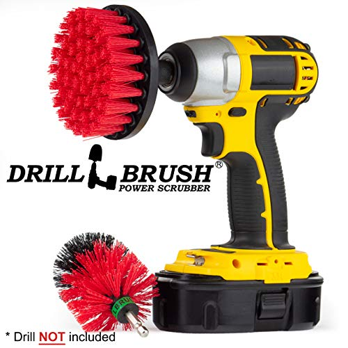 Stiff Bristle Spin Brush Cleaning Kit - Clean and Remove Algae, Mold, Mildew, and Moss - Deck Brush- Granite, Marble Cleaner - Patio, Concrete Bird Baths, Garden Fountains - Monuments and Headstones by Drillbrush (Image #1)