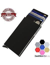 Card Blocr Credit Card Holder Mens or Womens | Best Minimalist Wallet Design Slim RFID Blocking Front Pocket Wallet (Bottom Trigger, Black)