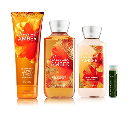 Bath & Body Works SENSUAL AMBER 8 Oz. Body Lotion, 10 Oz. Shower Gel & 8 oz Ultra Shea Body Cream Gift Set With A Jarosa Beauty Bee Organic Natural Peppermint Lip Balm