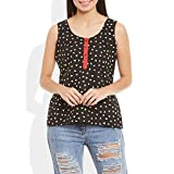 Womens Cotton Printed Short Top Kurti Sleeveless With Contrast Placket And Buttons – Small