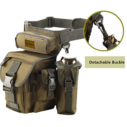 Jueachy Drop Leg Bag for Men Tactical Metal Detecting Thigh Pack with Water Bottle Pouch
