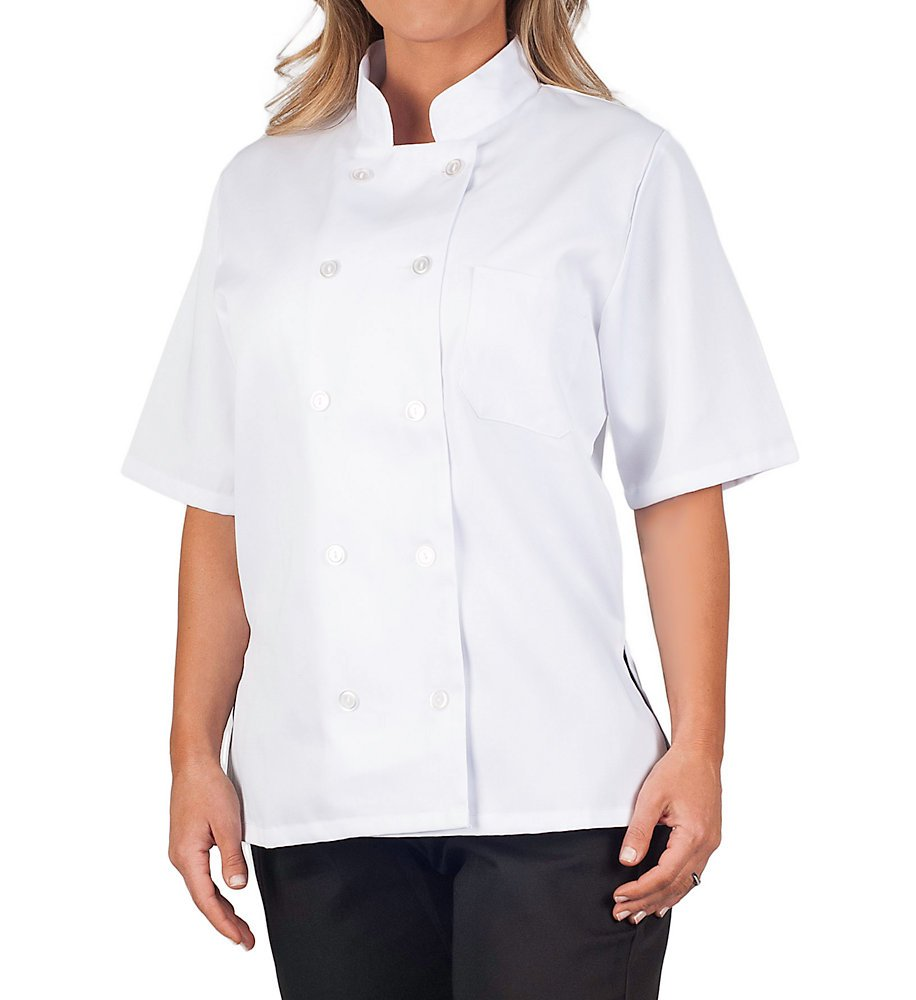 Womens White Classic Short Sleeve Chef Coat, S by KNG