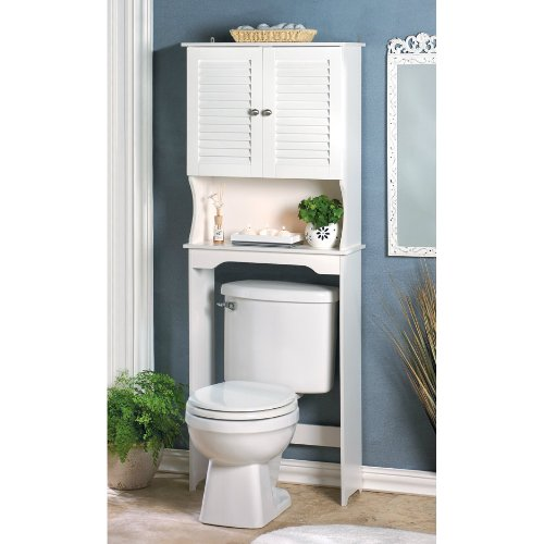 White Slatted Bathroom Space Saver Cabinet by AEW