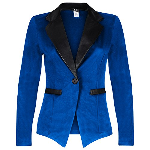 Contenta Women's Tuxedo Blazer. Dressy Long Sleeve PU Contrast Lapel Jacket. (large, Royal/Black) (Party City Canada Careers)