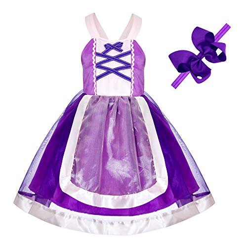 Princess Dresses (Snow,Belle,Little Mermaid,Anna,Cinderella,Rapunzel,Aurora,Elsa,Alice) Costumes for Toddler Girls Birthday 2T 3T 4T 5T 6T(5 Height 51