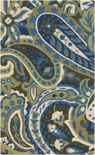 9' x 12' Paisley Splash Lime, Teal, and Olive Hand Hooked Outdoor Area Throw Rug